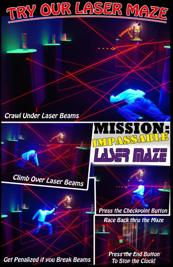 Tiki Action Park Laser Maze Room Flyer