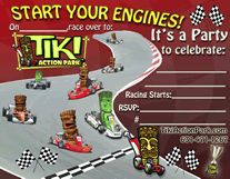 Tiki Action Park Go-Kart Invitations