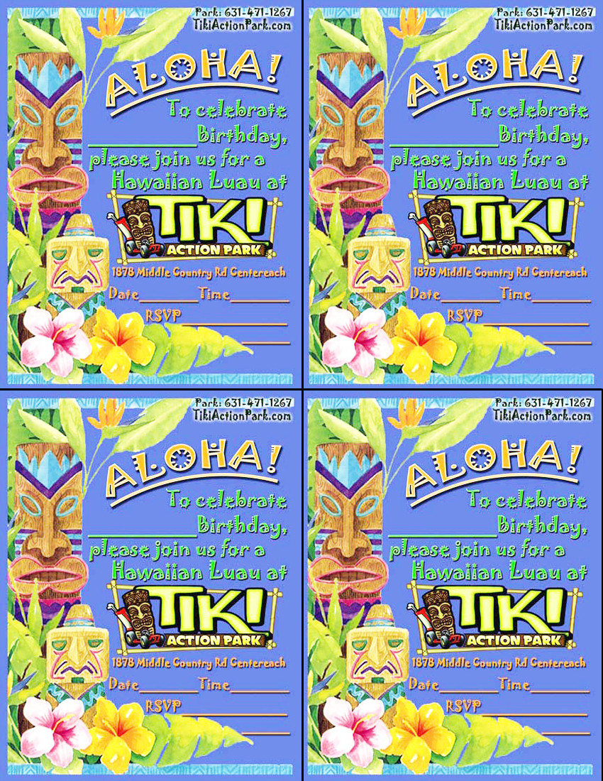 Downloadable Party Invitations Tiki Action Park – Arcade Party Invitations