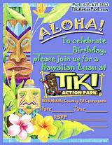 Tiki Action Park Luau Invitations