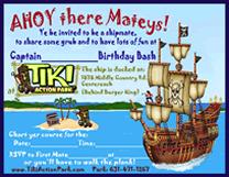 Tiki Action Park Pirate Invitations