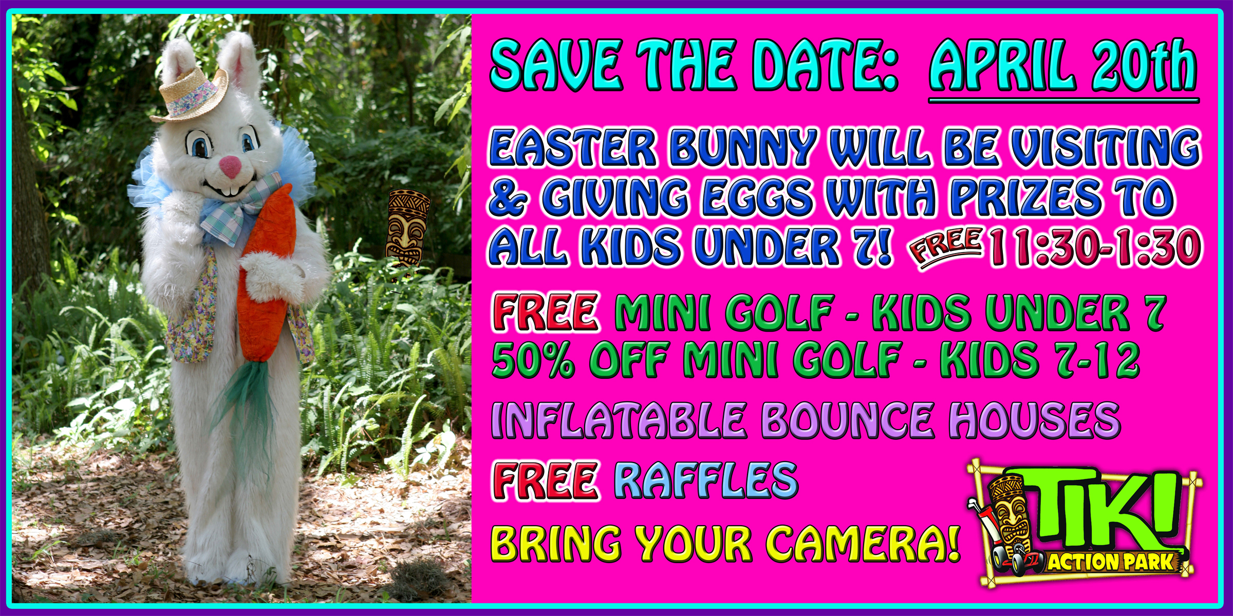 Tiki Action Park Meet The Easter Bunny Flyer.