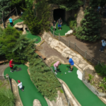 Birdseye view of mini-golf course