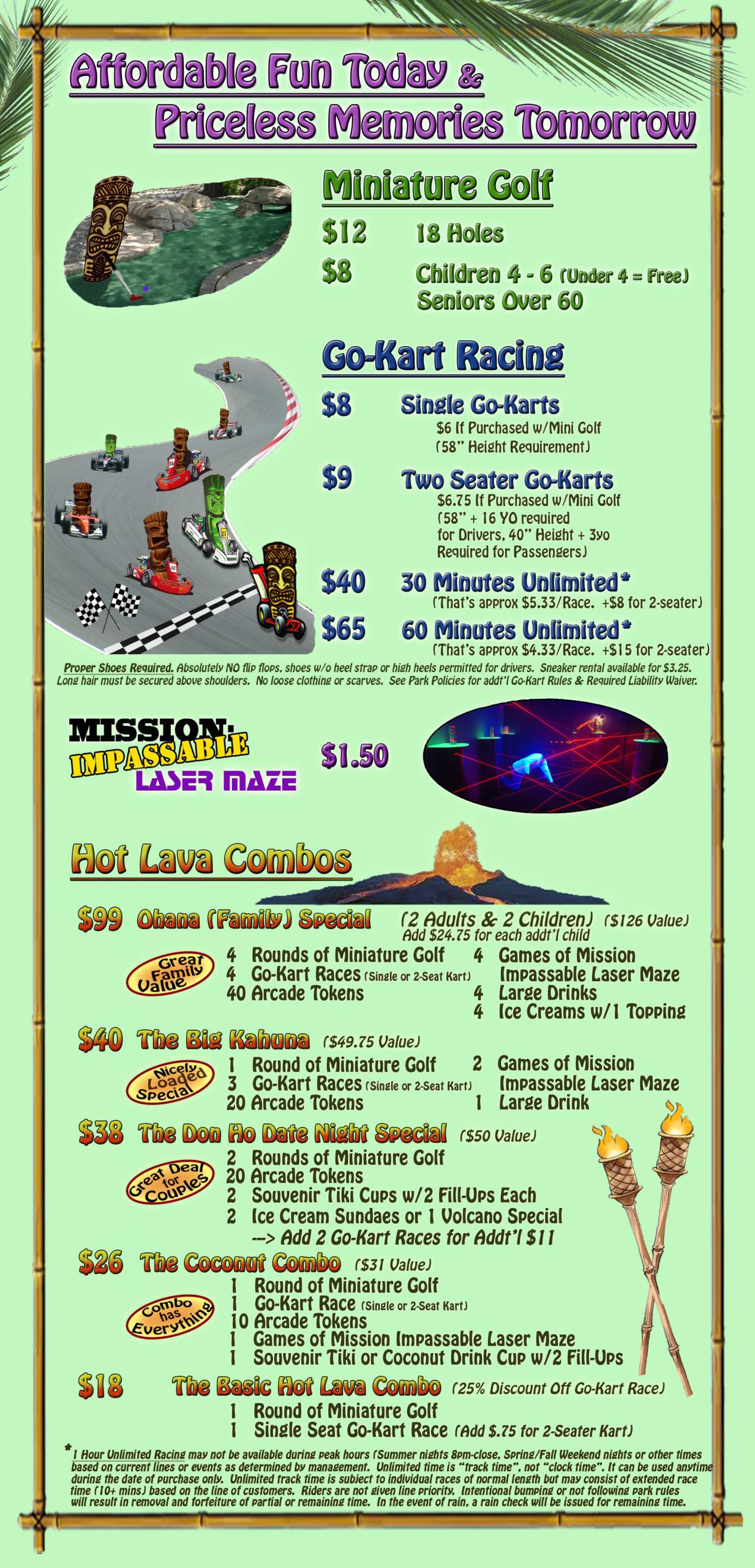Tiki Action Park - Prices