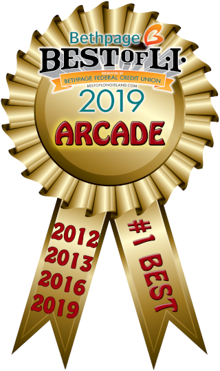 This image is of Tiki Action Park's winning medallion after being voted as Best Arcade on Long Island.