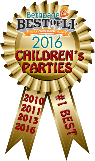 This image is of Tiki Action Park's winning medallion after being voted as Best for Children's Parties on Long Island.