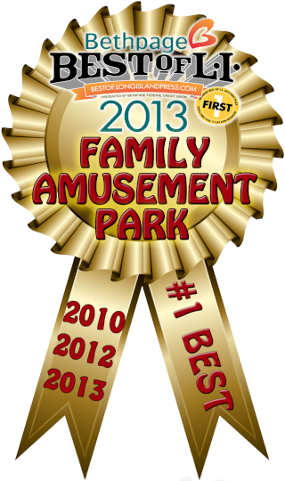 This image is of Tiki Action Park's winning medallion after being voted as Best for Family Amusement Park on Long Island.
